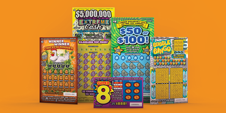 Five new scratchers for August 2021 on an orange background