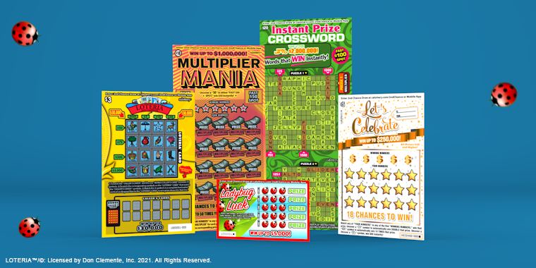 Five new scratchers tickets on blue background