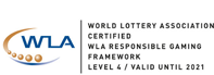 WLA World Lottery Association Certified WLA Responsible Gaming Framework Level 4 / Valid Until 2021