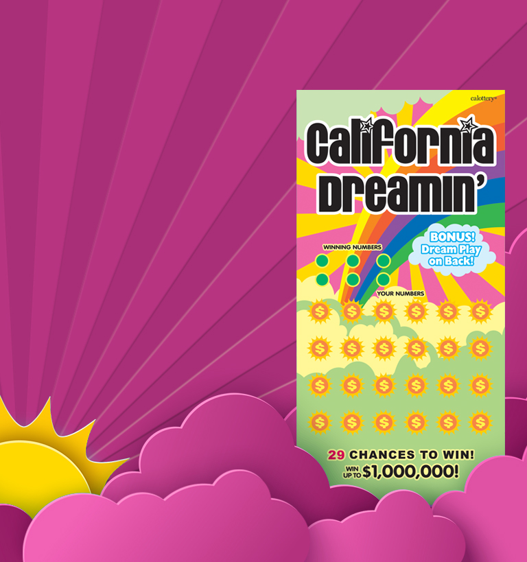 califorina dreamin scratcher on a red background