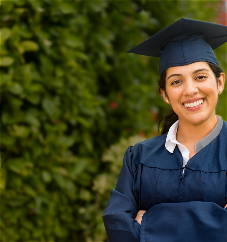 smiling woman in graduation robe