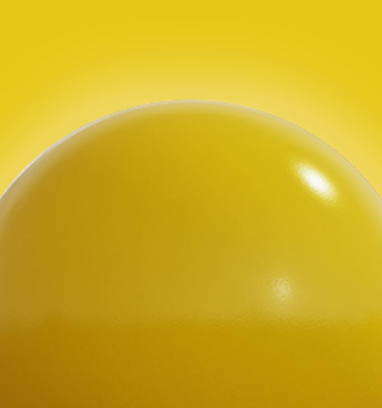 A yellow background with a large yellow ball in the foreground.