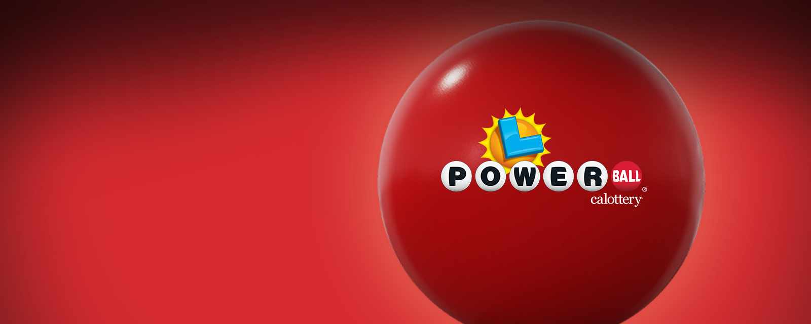 A red background with a big red ball. The ball has the Powerball logo on it