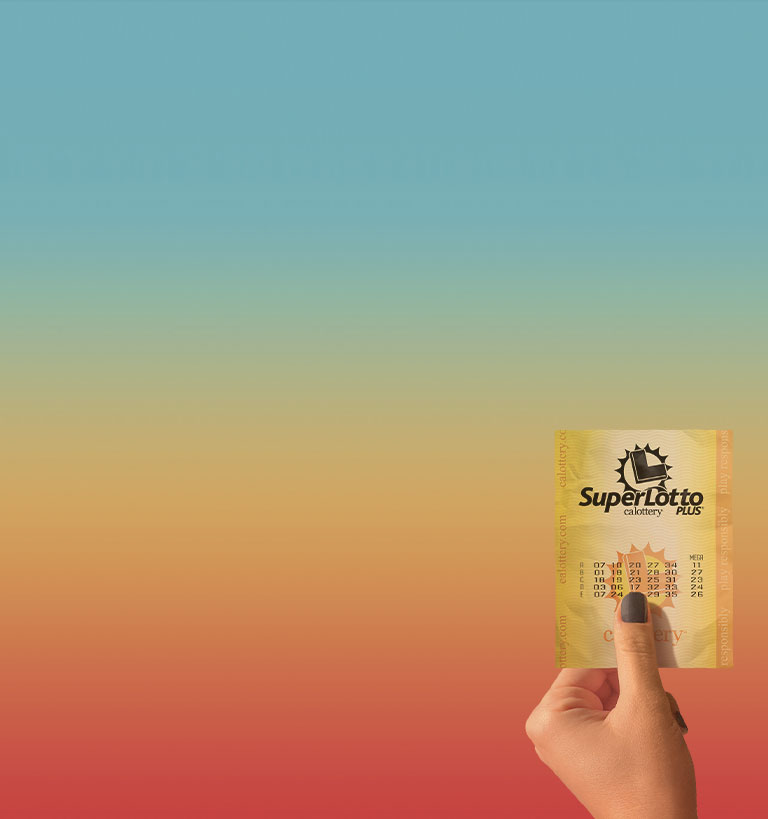 A hand holding up a SuperLotto ticket with colorful background.