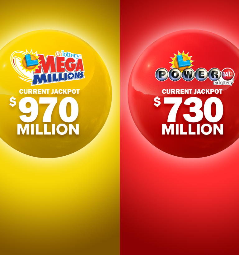 image of Powerball and Mega Millions logos with current jackpot amount
