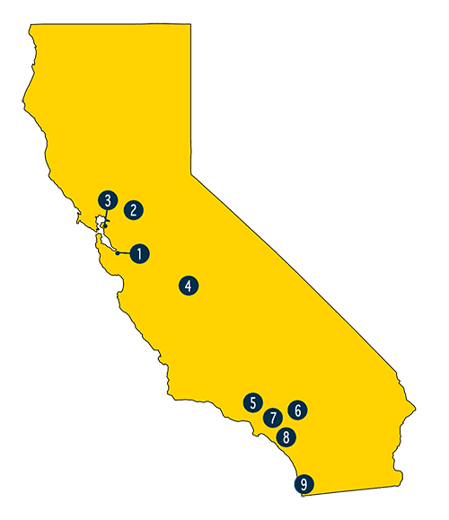 Map of California showing Lottery office locations
