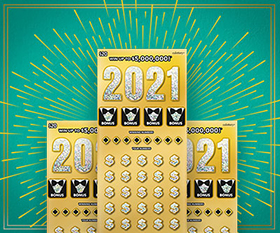 2021 scratchers on green background