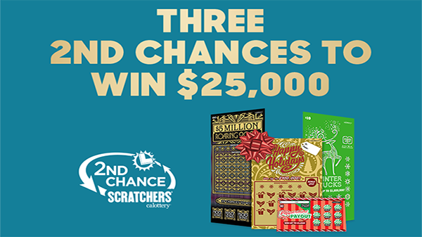 Holiday 2nd Chance Promotion - Text: Three 2nd Chances To Win $25,000