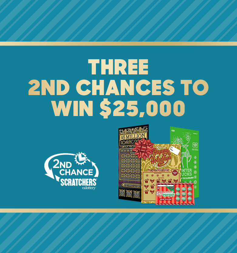 Three chances to win $25,000 Holiday Scratchers 2nd Chance