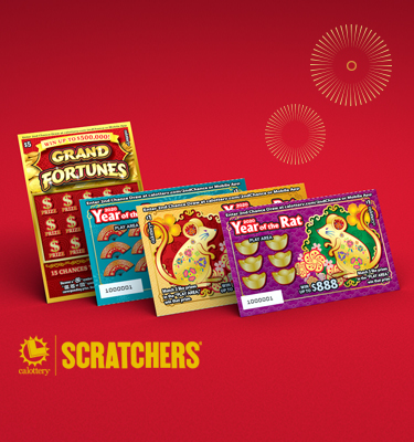 Lunar New Year Scratchers on a red background