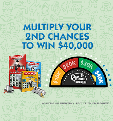 Monopoly scratchers and the prize -o-meter showing  $40,000