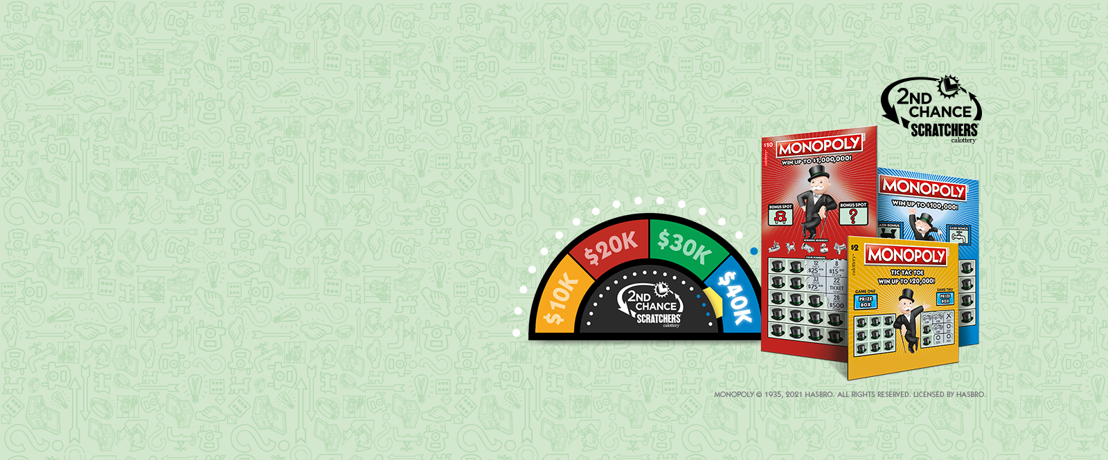 Monopoly Scratchers with 2nd chance prize meters