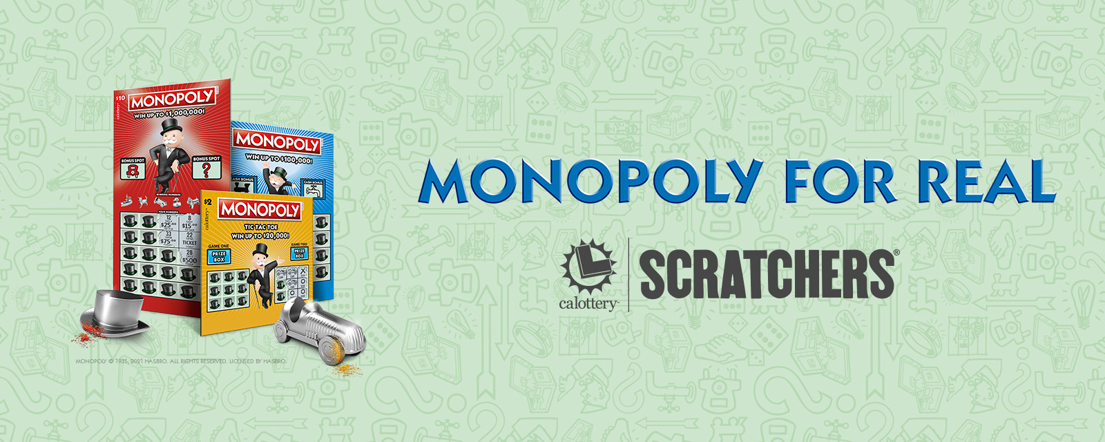 monopoly scratchers on a green background
