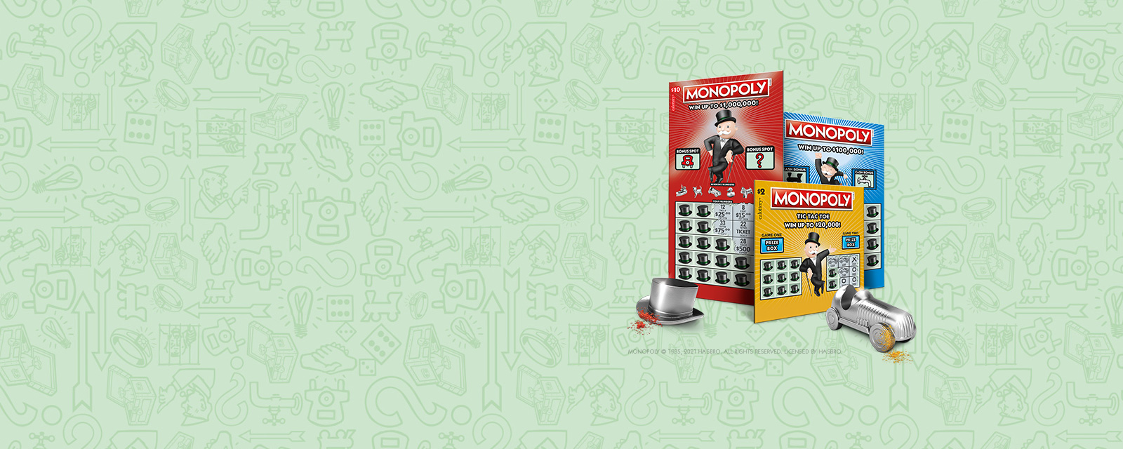 three Monopoly Scratchers on a green background