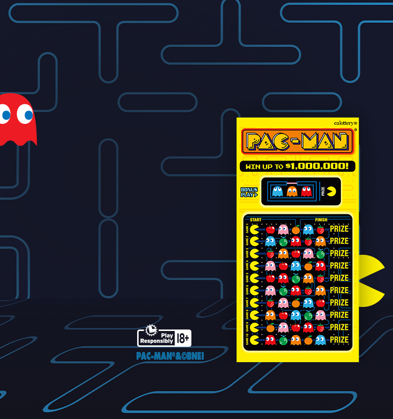 Pac-man $10 Scratcher on colorful background