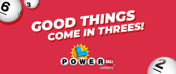 Powerball Good Things Come In Threes On Red Background