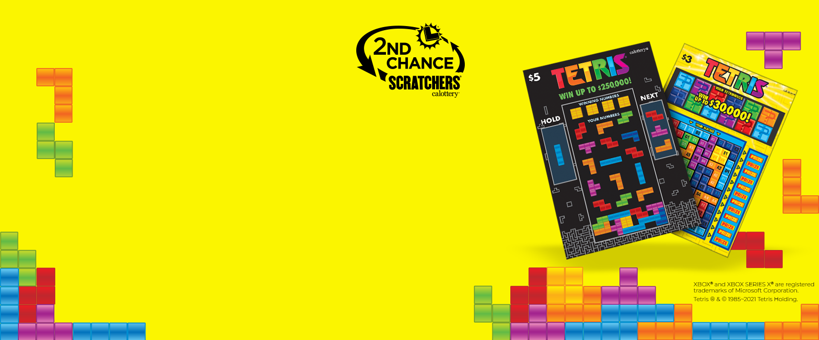 Tetris scratchers on a yellow background with 2nd chance logo