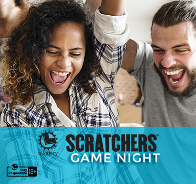 Scratchers Game Night Text With Group Of Adults Cheering
