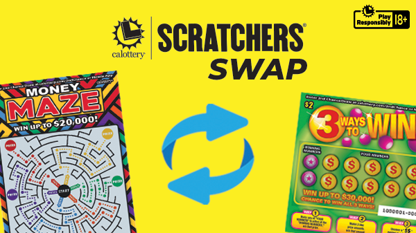 Scratchers Swap Text With Two Scratchers With A Swap Symbol On Yellow Background
