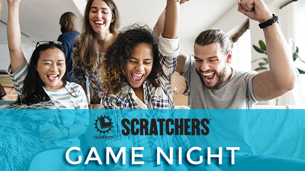 A group of happy cheering adults - scratchers game night