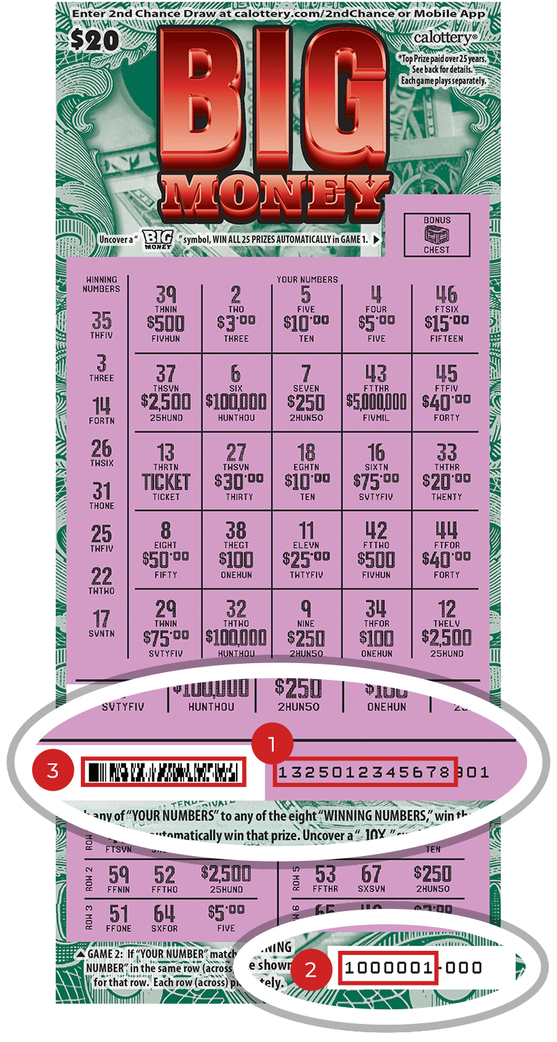Image of a Scratched $20 Big Money Scratcher showing a circle in the lower part of the ticket which highlights the placement of the three items listed in the legend below. #1 is the Entry Code (use the first 13 digits only). #2 is the Ticket ID (use the first 7 digits only). #3 is the barcode which can be scanned to use Check-a-Ticket or enter 2nd Chance.