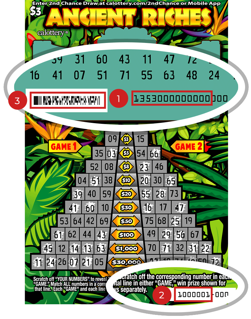 Image of a Scratched $2 Ancient Riches Scratcher showing circles in the upper and lower parts of the ticket which highlight the placement of the three items listed in the legend below. #1 is the Entry Code (use the first 13 digits only). #2 is the Ticket ID (use the first 7 digits only). #3 is the barcode which can be scanned to use Check-a-Ticket or enter 2nd Chance.