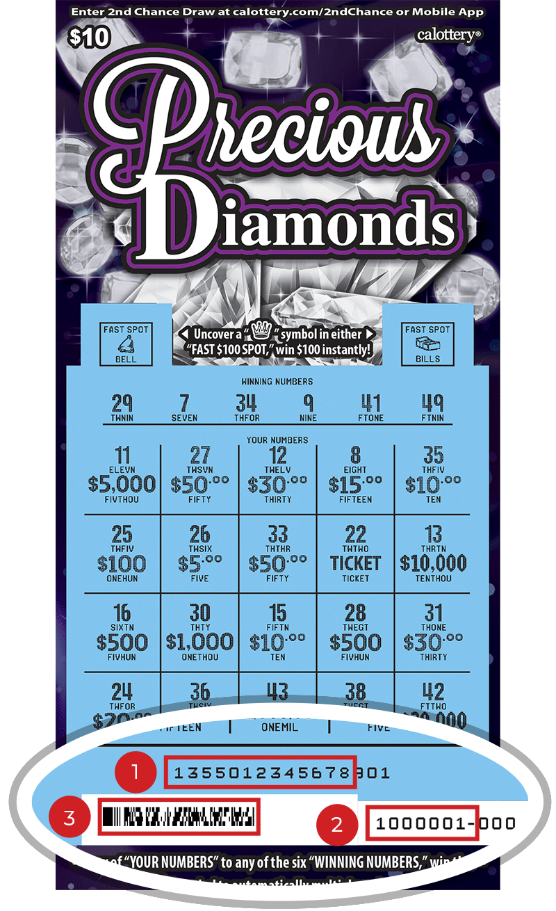 Image of a Scratched $10 Precious Jewels Scratcher showing a circle in the lower part of the ticket which highlights the placement of the three items listed in the legend below. #1 is the Entry Code (use the first 13 digits only). #2 is the Ticket ID (use the first 7 digits only). #3 is the barcode which can be scanned to use Check-a-Ticket or enter 2nd Chance.
