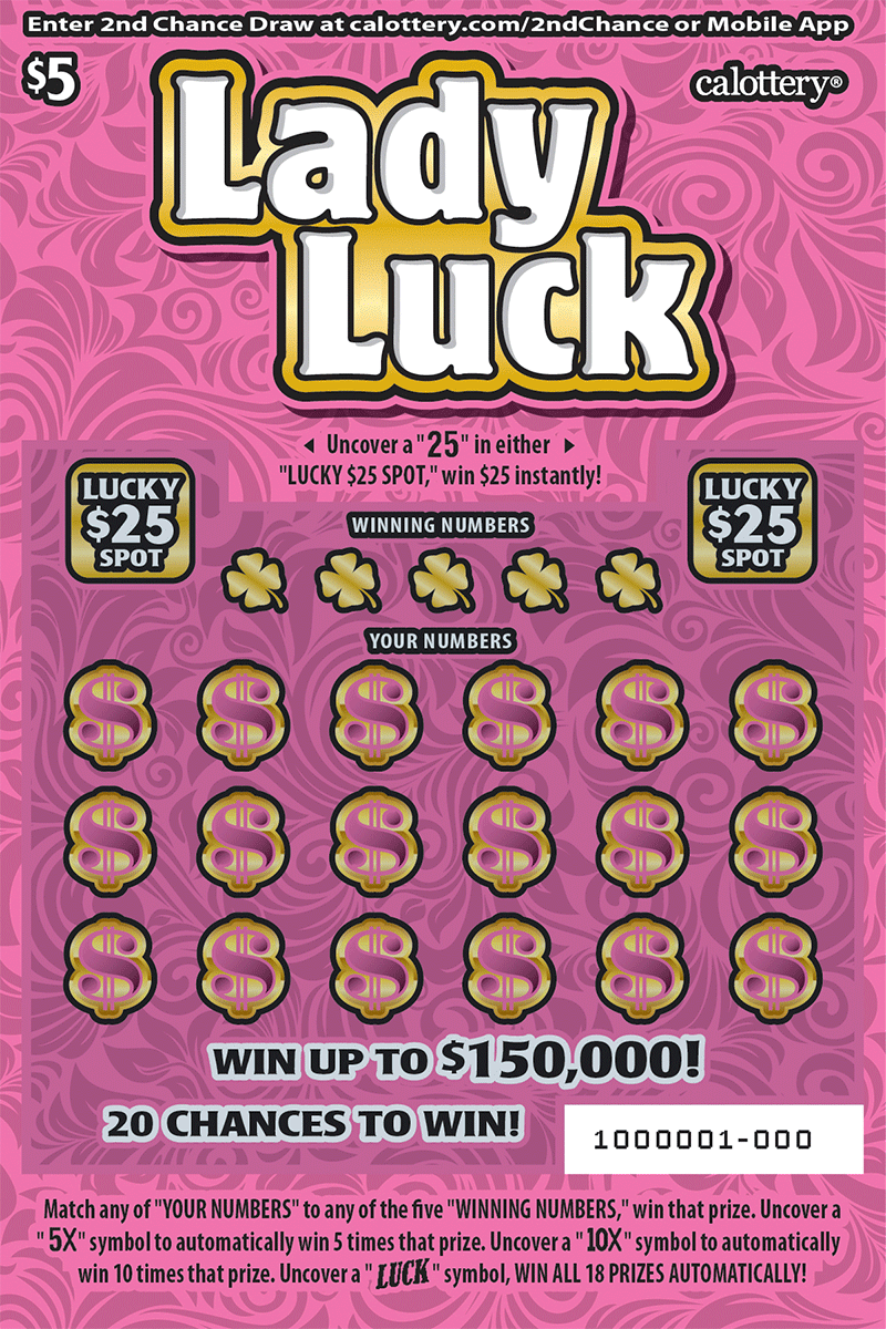 $5 Lady Luck  unscratched ticket