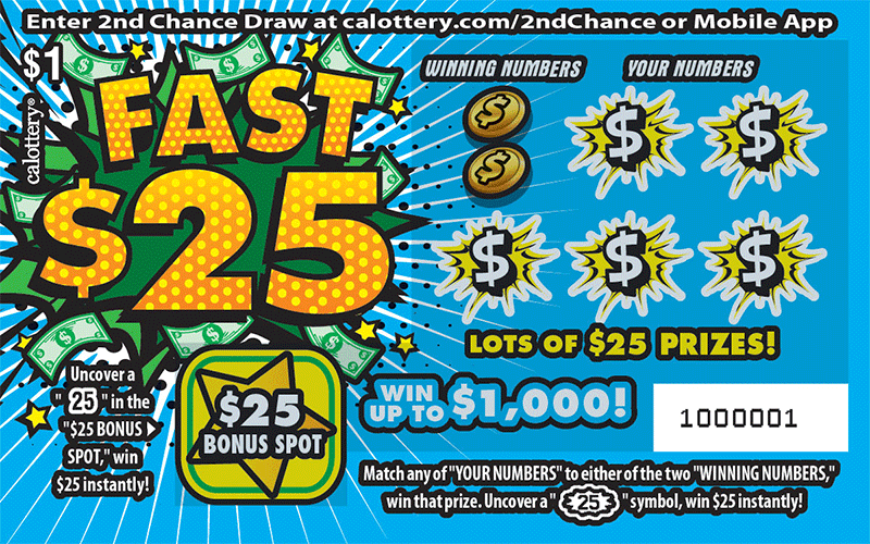 $1 Fast 25 unscratched ticket