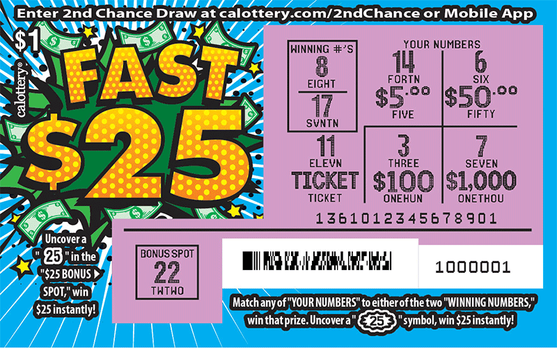 $1 Fast 25 scratched ticket