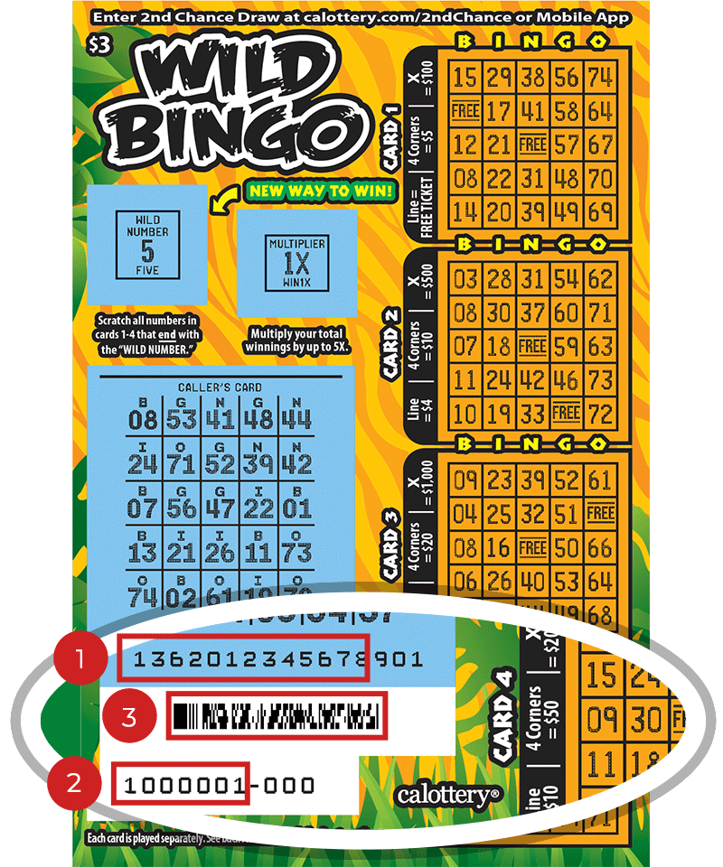 Image of a Scratched $3 Wild Bingo Scratcher showing a circle in the lower part of the ticket which highlights the placement of the three items listed in the legend below. #1 is the Entry Code (use the first 13 digits only). #2 is the Ticket ID (use the first 7 digits only). #3 is the barcode which can be scanned to use Check-a-Ticket or enter 2nd Chance.