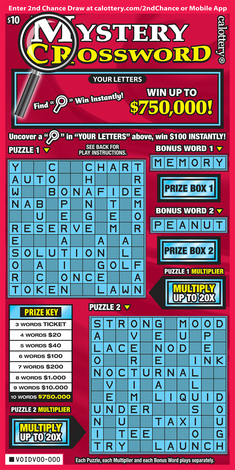 $10 Mystery Crossword unscratched ticket