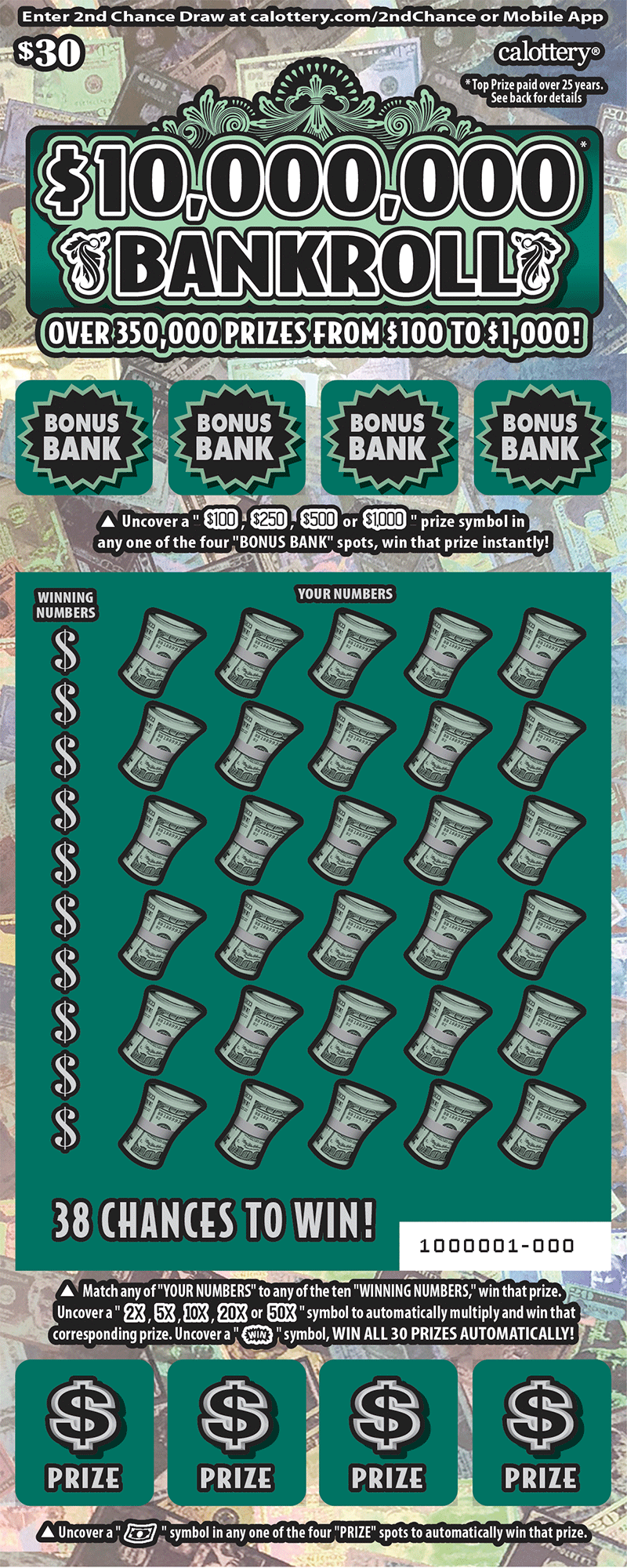 $30 $10,000,000 Bankroll unscratched ticket