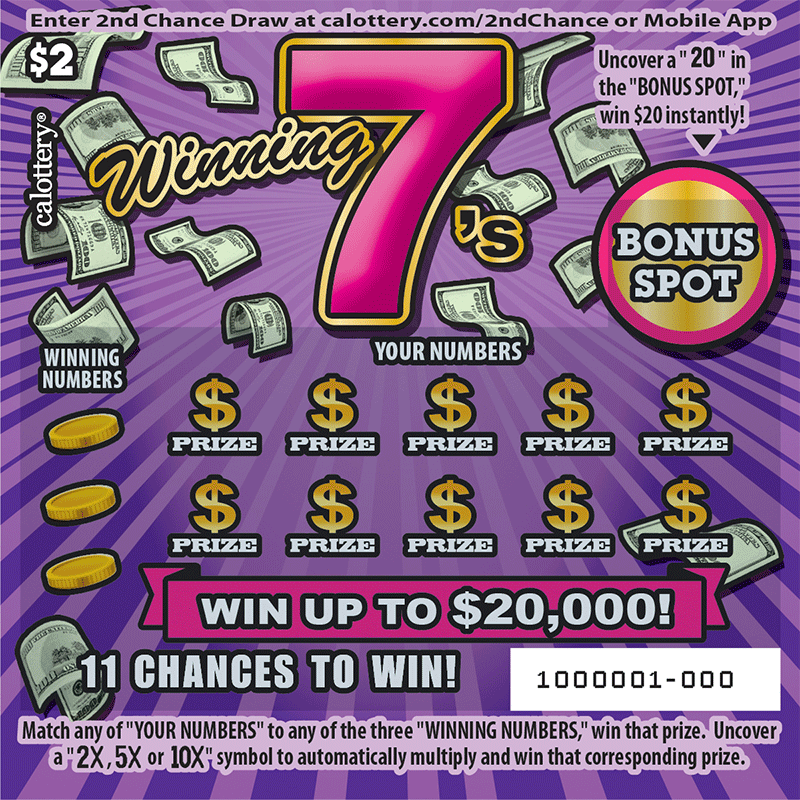 $2 Winning 7s unscratched ticket