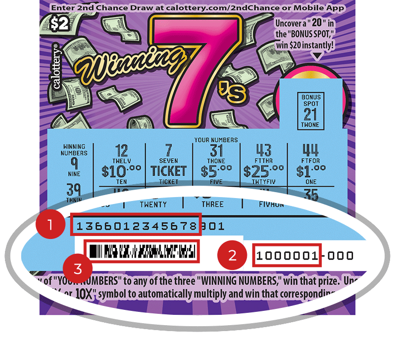 Image of a Scratched  $2 WINNING 7'S Scratcher showing a circle in the lower part of the ticket which highlights the placement of the three items listed in the legend below. #1 is the Entry Code (use the first 13 digits only). #2 is the Ticket ID (use the first 7 digits only). #3 is the barcode which can be scanned to use Check-a-Ticket or enter 2nd Chance.
