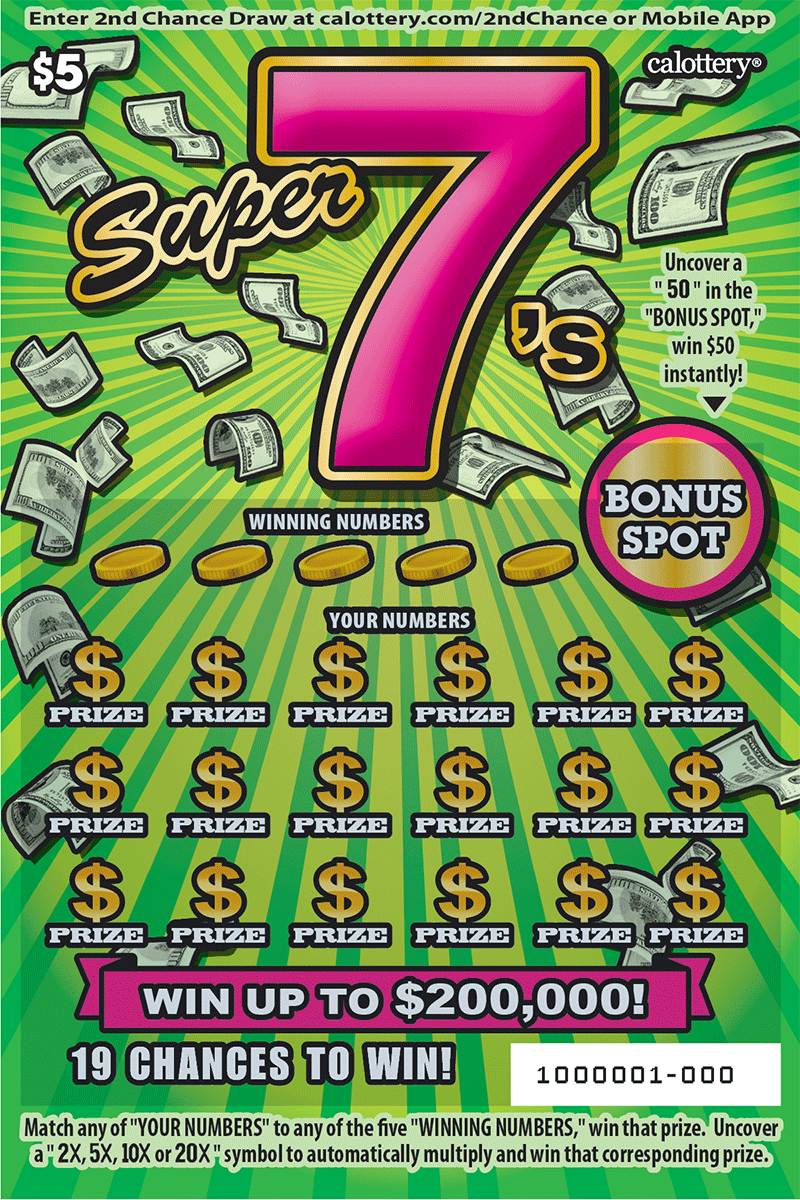 $5 Super 7s unscratched ticket