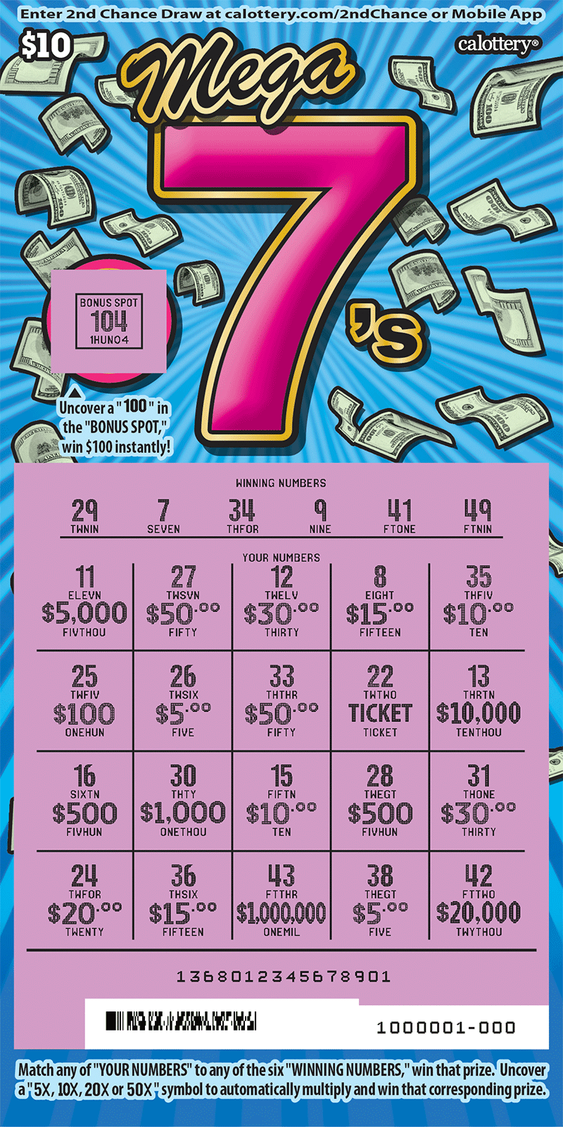 $10 Mega 7s scratched ticket