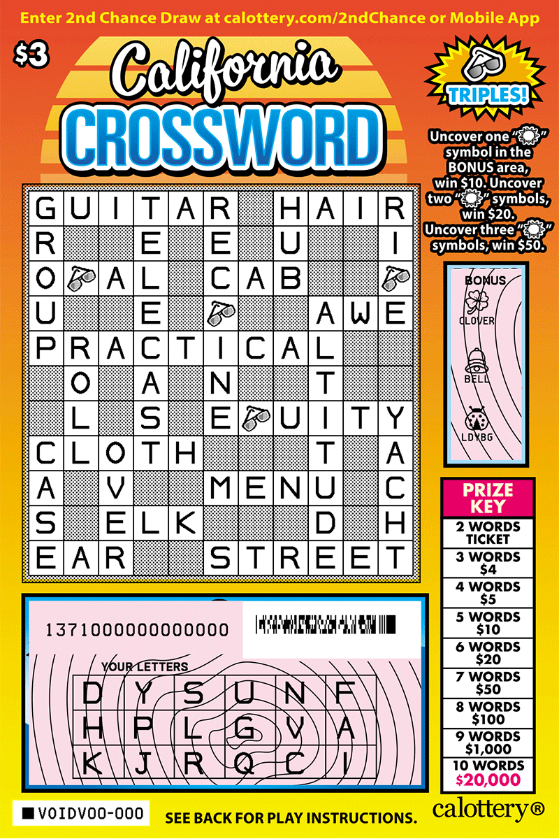 $3 California Crossword scratched ticket