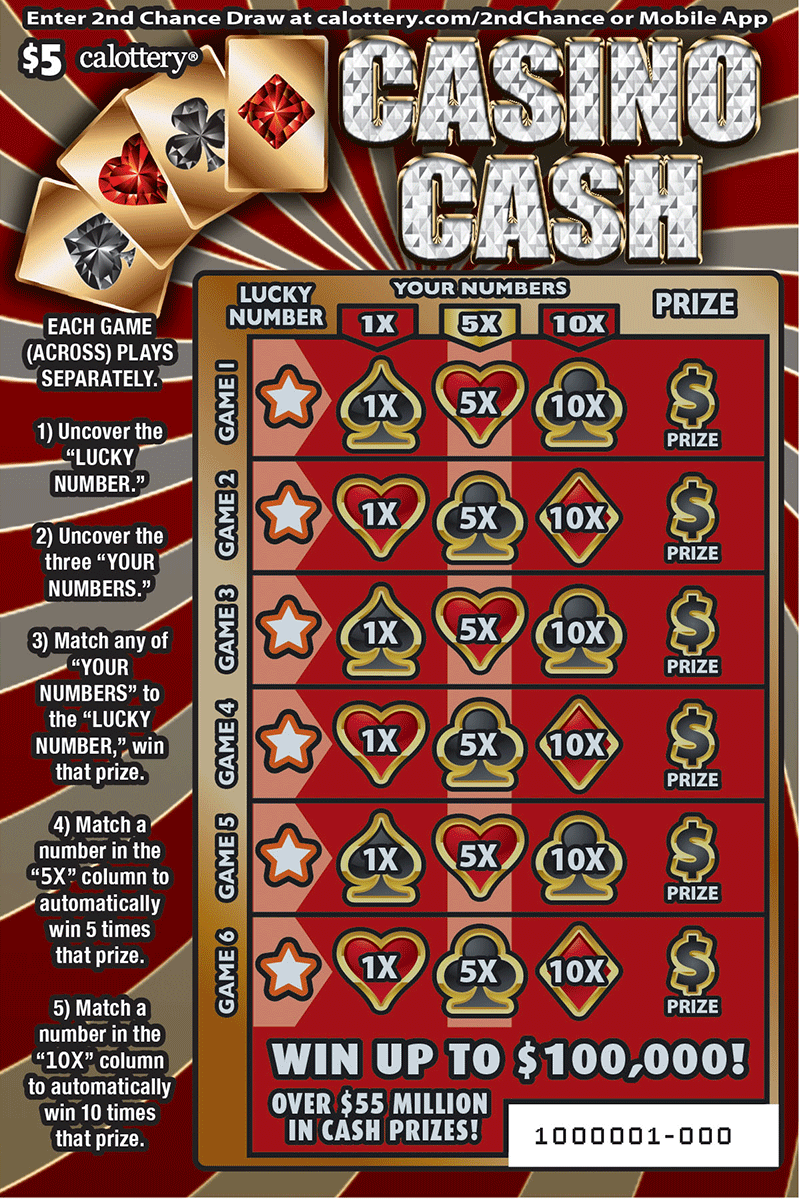 $5  Casino Cash unscratched ticket