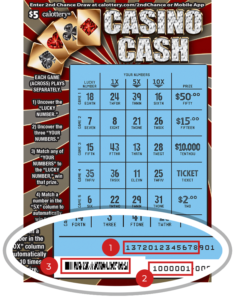 Image of a Scratched $5 CASINO CASH Scratcher showing a circle in the lower part of the ticket which highlights the placement of the three items listed in the legend above. #1 is the Entry Code (use the first 13 digits only). #2 is the Ticket ID (use the first 7 digits only). #3 is the barcode which can be scanned to use Check-a-Ticket or enter 2nd Chance.