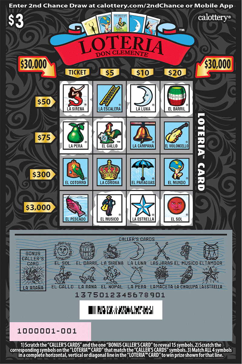 $3 Loteria scratched ticket