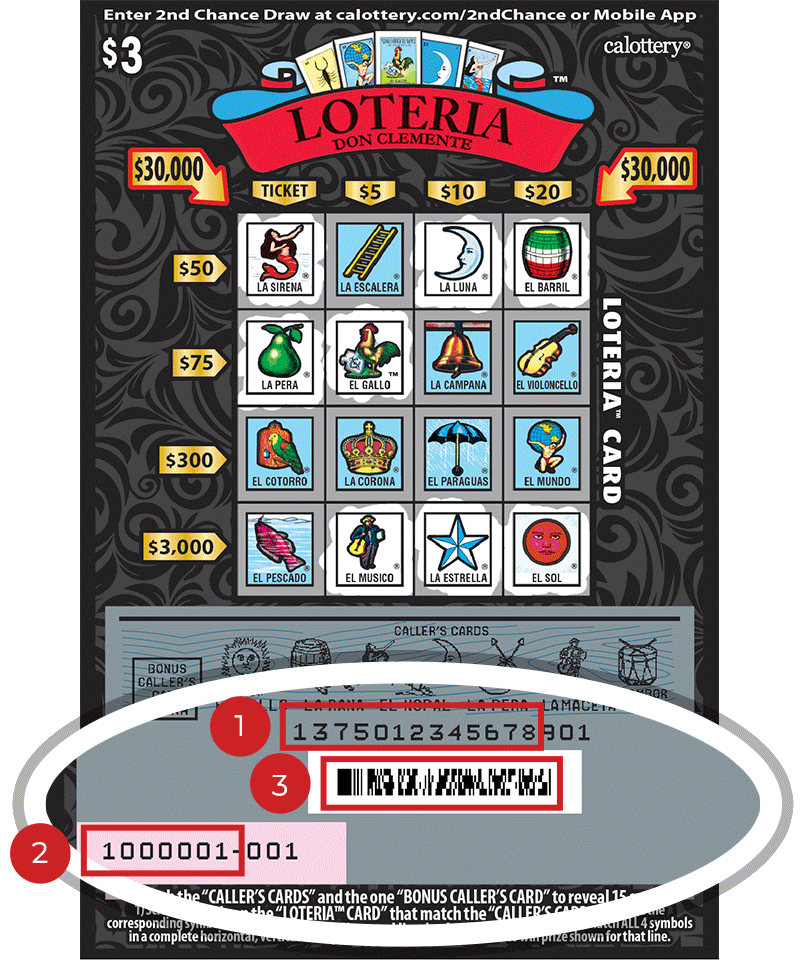 Image of a Scratched $3 LOTERIA Scratcher showing a circle in the lower part of the ticket which highlights the placement of the three items listed in the legend below. #1 is the Entry Code (use the first 13 digits only). #2 is the Ticket ID (use the first 7 digits only). #3 is the barcode which can be scanned to use Check-a-Ticket or enter 2nd Chance.