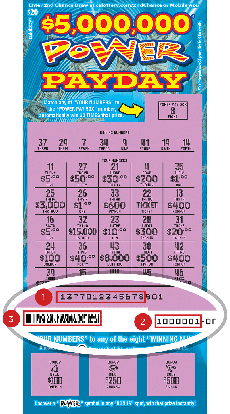 Image of a Scratched $20 $5,000,000 PAYDAY Scratcher showing a circle in the lower part of the ticket which highlights the placement of the three items listed in the legend below. #1 is the Entry Code (use the first 13 digits only). #2 is the Ticket ID (use the first 7 digits only). #3 is the barcode which can be scanned to use Check-a-Ticket or enter 2nd Chance.