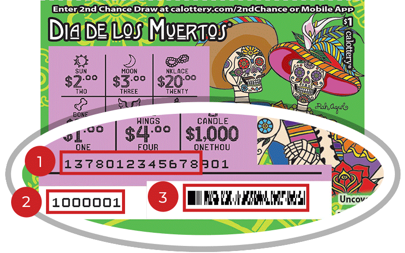 Image of a Scratched $1 DIA DE LOS MUERTOS Scratcher showing a circle in the lower part of the ticket which highlights the placement of the three items listed in the legend below. #1 is the Entry Code (use the first 13 digits only). #2 is the Ticket ID (use the first 7 digits only). #3 is the barcode which can be scanned to use Check-a-Ticket or enter 2nd Chance.