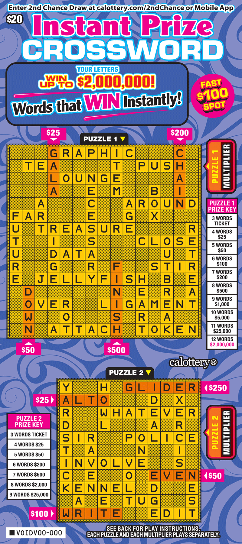 $20 Instant Prize Crossword unscratched ticket