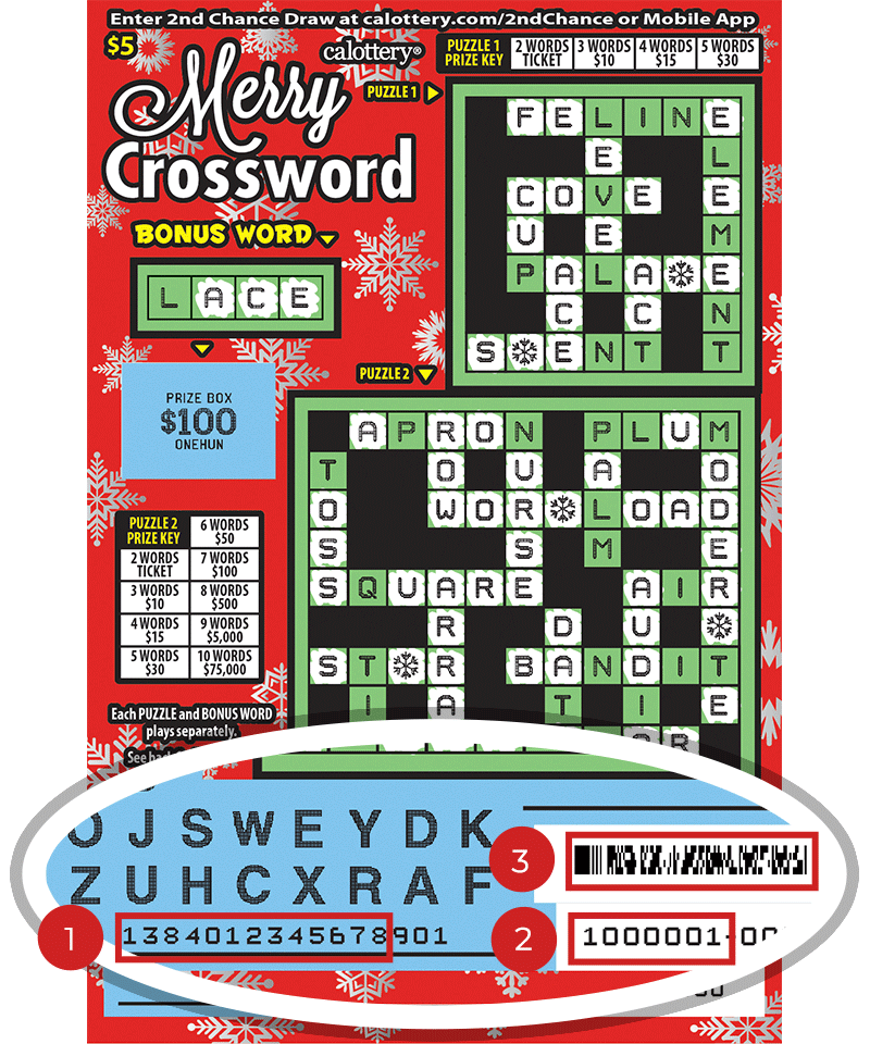 Image of a Scratched $5 MERRY CROSSWORD Scratcher showing a circle in the lower part of the ticket which highlights the placement of the three items listed in the legend above. #1 is the Entry Code (use the first 13 digits only). #2 is the Ticket ID (use the first 7 digits only). #3 is the barcode which can be scanned to use Check-a-Ticket or enter 2nd Chance.