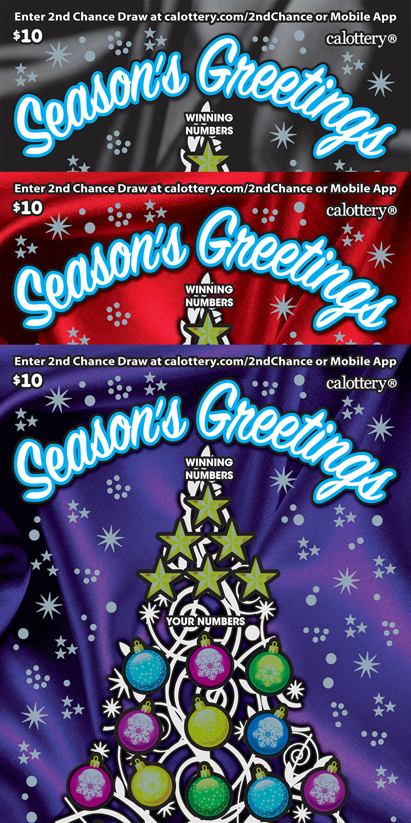 $10 Season's Greetings unscratched ticket
