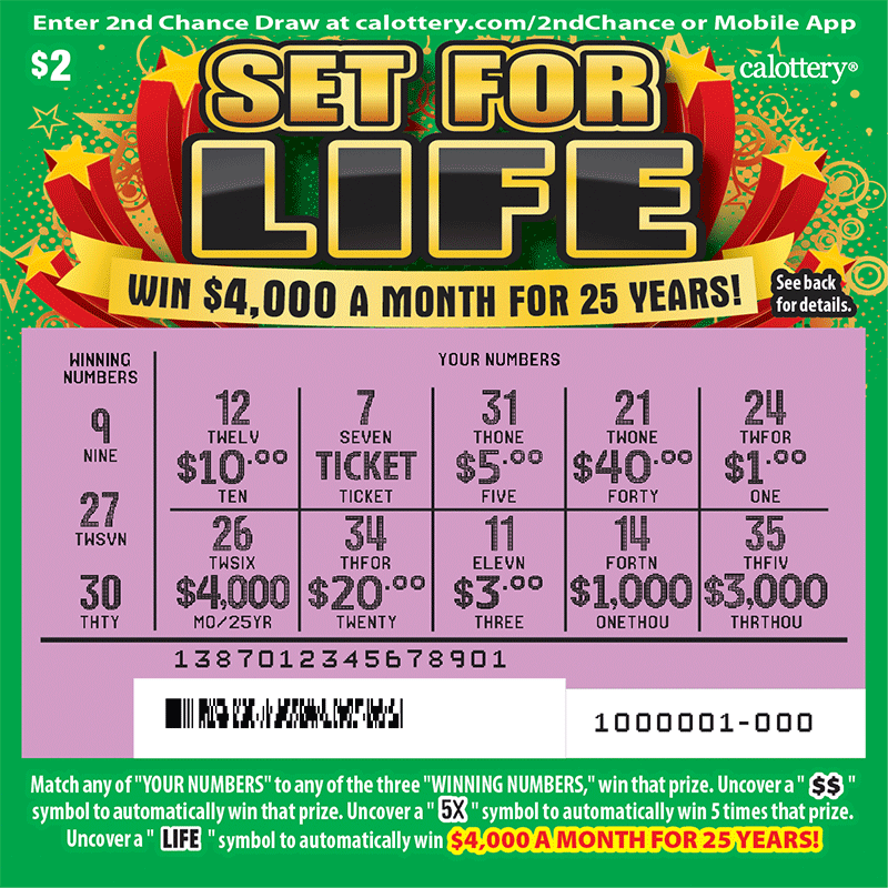 $2 Set for Life scratched ticket