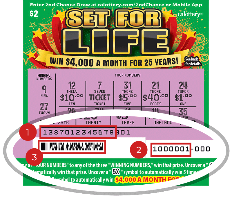 Image of a Scratched $2 SET FOR LIFE Scratcher showing a circle in the lower part of the ticket which highlights the placement of the three items listed in the legend below. #1 is the Entry Code (use the first 13 digits only). #2 is the Ticket ID (use the first 7 digits only). #3 is the barcode which can be scanned to use Check-a-Ticket or enter 2nd Chance.