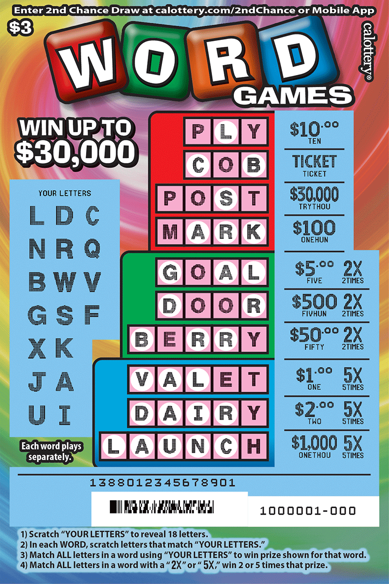 $3 Word Games scratched ticket
